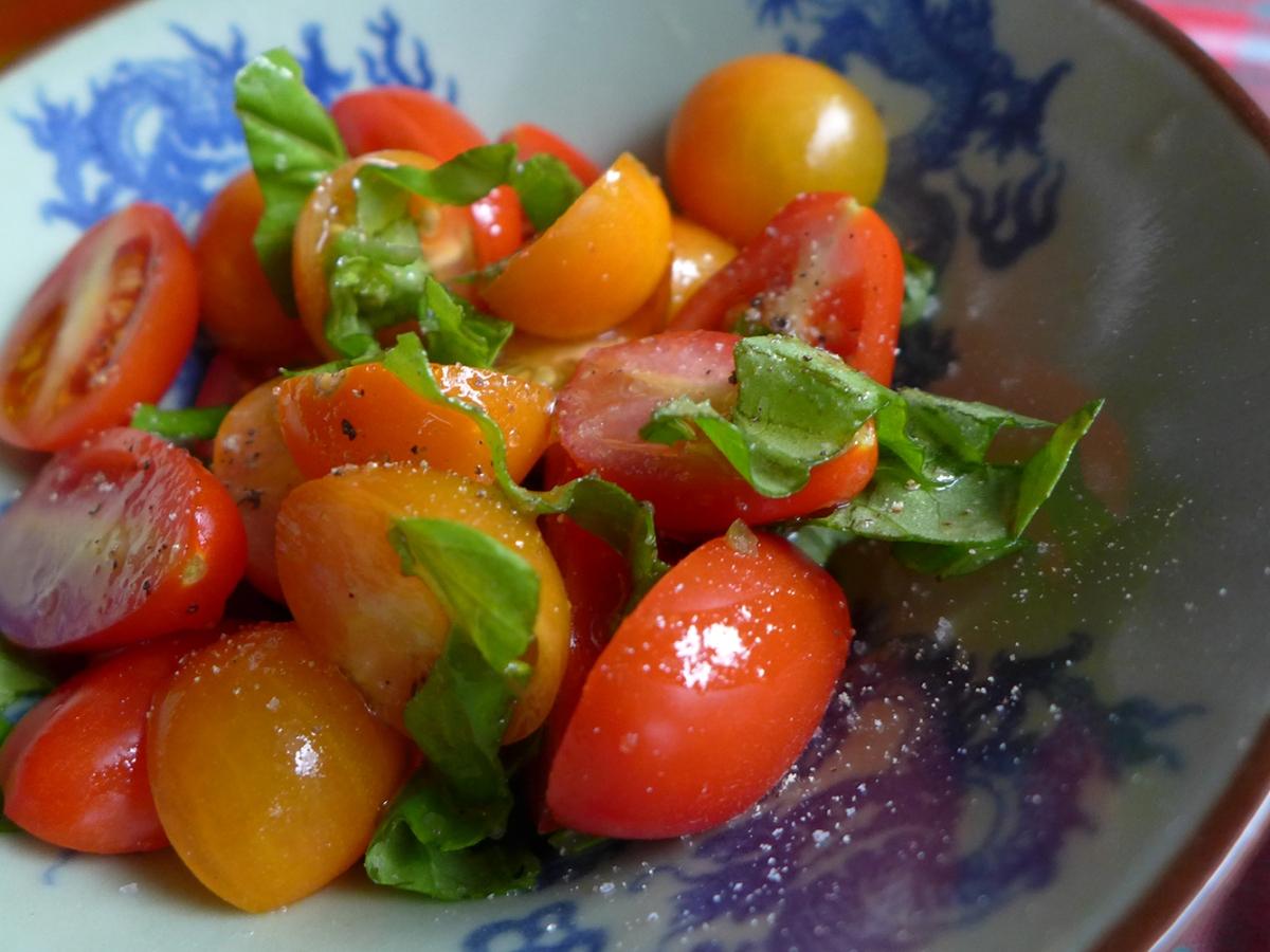 fresh garden tomato salad with basil
