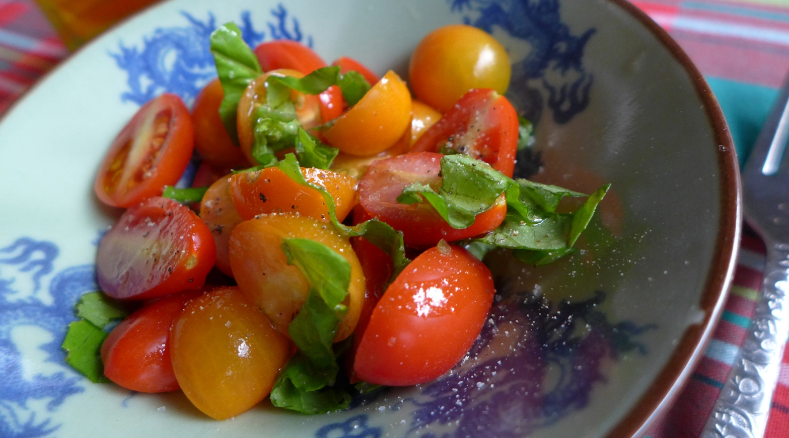 fresh garden tomato salad with basil
